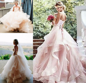 Blush Vintage Sweetheart Layered Wedding Dress Organza Ball Bridal ...