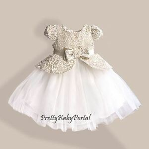 NEW GIRLS Baby Toddler Kid's Laces Pageant Princess Party Wedding Dress