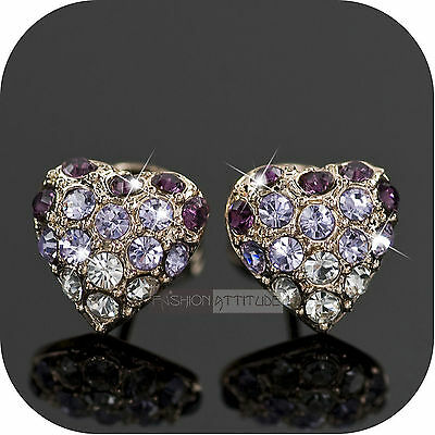 earrings stud made with SWAROVSKI purple clear crystal 18k yellow gold gp heart