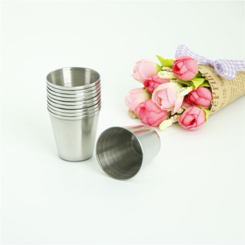 10Pcs 30ml Portable Stainless Steel Wine Drinking Shot Glasses Barware CupWG