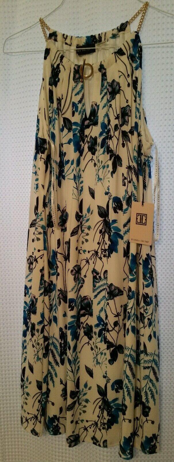 New IVANKA TRUMP Floral Sleeveless Dress w  Gold Chain Straps & Accent Sz L NWT