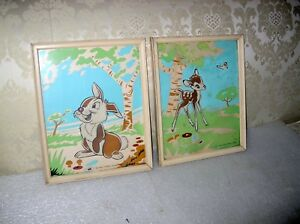 PAIR-DISNEY-BAMBI-AND-THUMPER-LITHOGRAPHS-1942