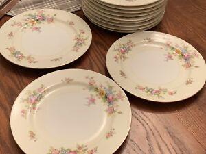 Vtg-Meito-China-Dinner-Plates-Ivory-Floral-Gold-Rim-Japan-10-Set-Of-4
