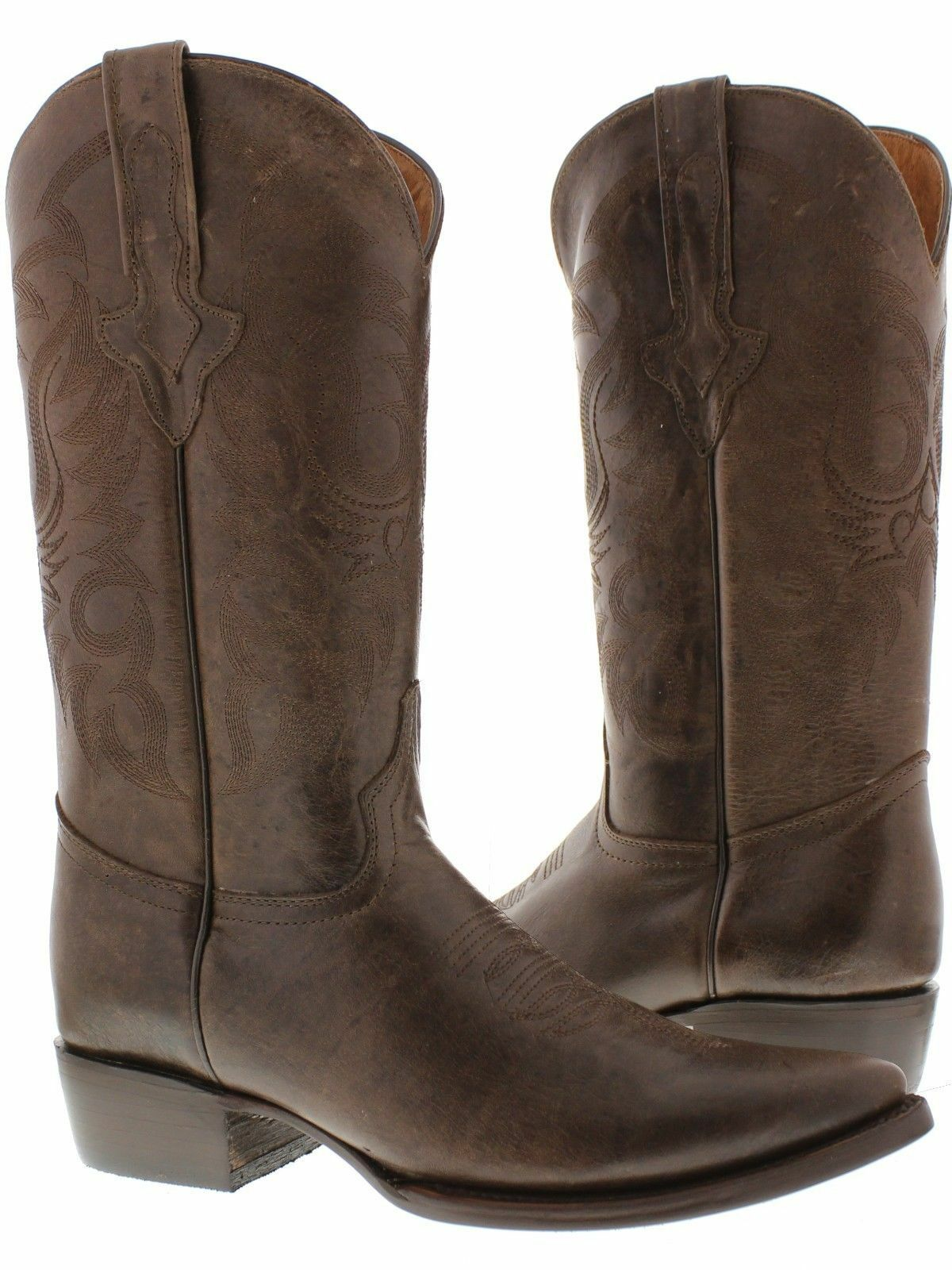 Mens Original Brown Full Plain Leather Western Cowboy Boots