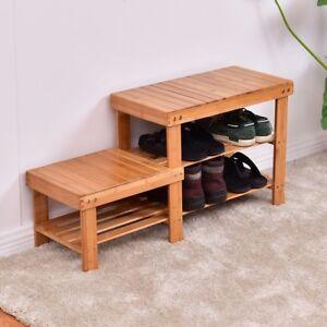 Awe Inspiring Details About Home 2 Tier Bamboo Wood Shoe Wearing Bench Boots Storage Organizer Rack Shelf Us Uwap Interior Chair Design Uwaporg