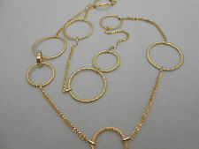 Modern Designer Italy 585 14k Solid Yellow Gold Circle Station Chain Necklace