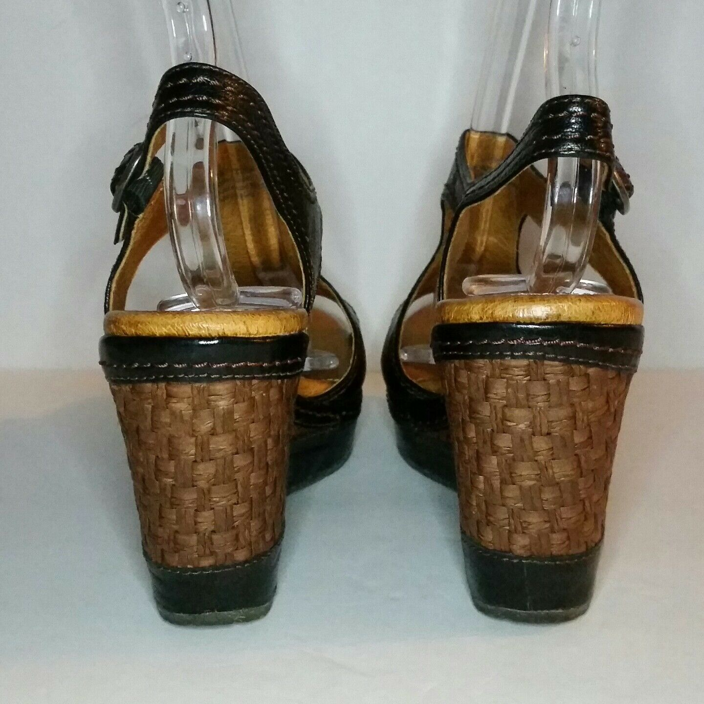 Naya Eternal Black Leather Platform Wedge Sandal Sandal Sandal Heel Women 7.5 Espadrille Woven 84f60a