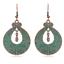 1 Paire Vintage Femmes Bronze Vert Rond Sculpté Fleur Dangle oreille Crochet Boucles D/'oreilles