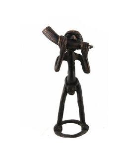 Statuetta Africana Bronzo Africano Bamun Corno Chiamata Camerun AB22
