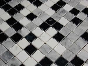 Das Bild Wird Geladen Naturstein Marmormosaik Mosaik Fliesen CARRARA Schwarz  Weiss Grau