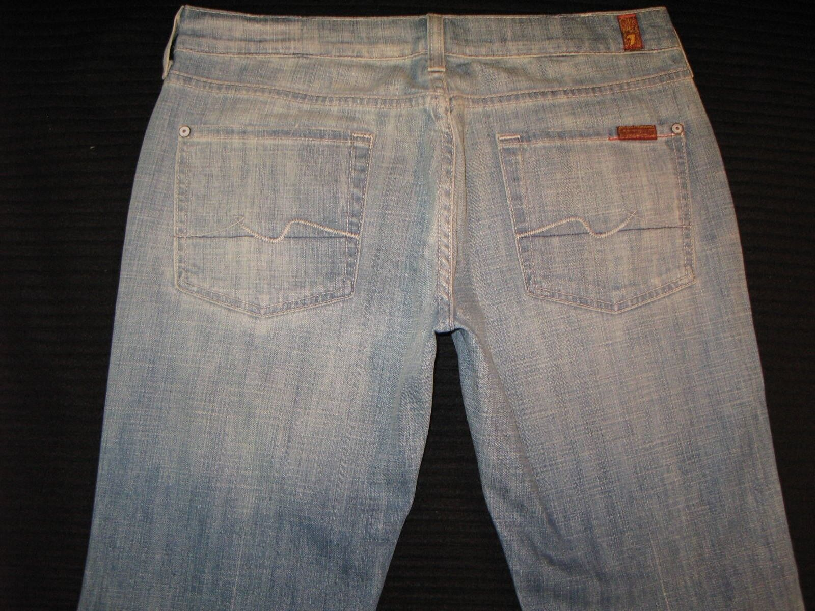 7 for all Mankind Womens Bootcut Jeans Sz 29 w Stretch Light Distressed Wash