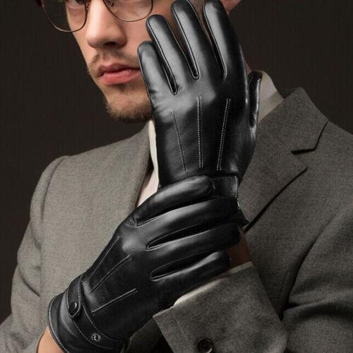 Chaud Hommes noir d/'hiver en cuir Moto Plein Doigt écran Tactile Chaud Gants