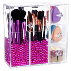 Langforth Brush Holder Dustproof Box Makeup Acrylic Organizer With Rosy Peals