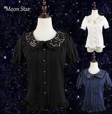 Cute Grils Lolita Blouse Moon Star Constellation Embroidery Shirt Tops Summer