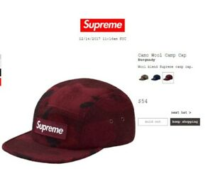 936d5692c8b Image is loading Supreme-Camo-Wool-Camp-Cap-FW17-Burgundy