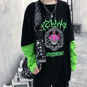 Harajuku-Flame-Letter-Print-Patchwork-Women-T-Shirt-Autumn-Fake-two-Pieces-Tops