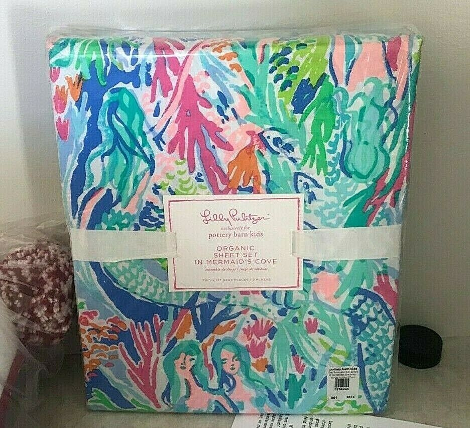 NEW POTTERY BARN KIDS Bailey Mermaid Organic QUEEN 4 piece Sheet Set