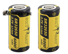 2pcs SKYRAY 32650 3.7V 6000mAh Rechargeable Lithium Battery Yellow