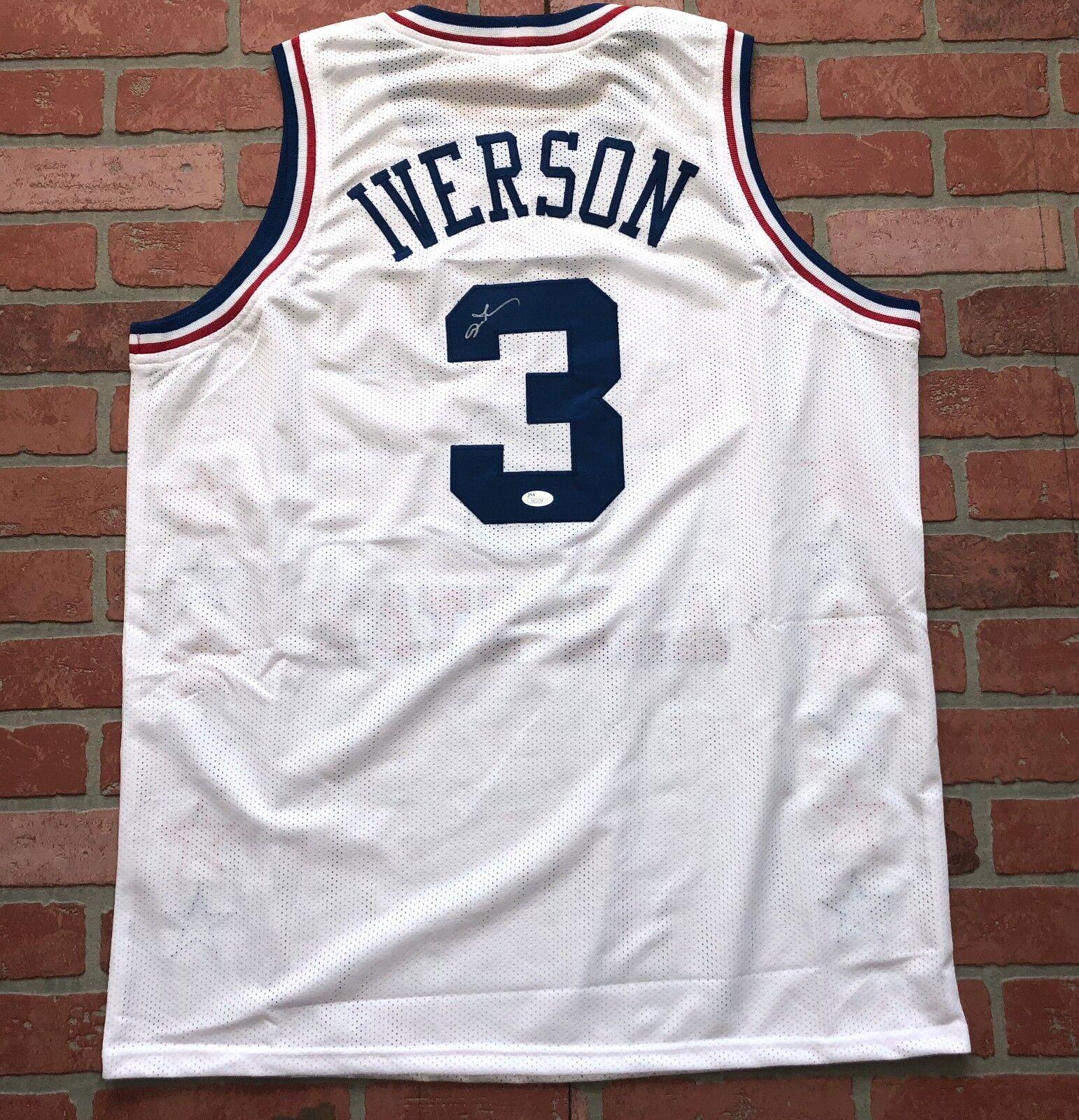 Allen Iverson Dédicacé Signé Rare All Star Maillot NBA Philadelphia 76ers JSA