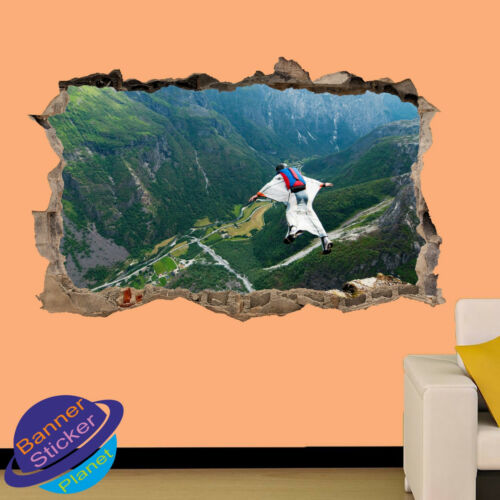 Wingsuit Flying Parachute art 3D Smashed Wall Sticker Room Decor Decal murale ZA9