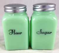 Jadite Green Glass Roman Arch Jadeite Spice Jar Kitchen Shaker - Flour & Sugar