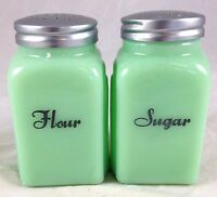 Jadite Green Glass Roman Arch Jadeite Spice Jar Kitchen Shaker - Flour & Sugar