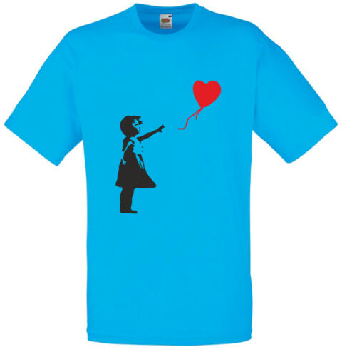 Designer Mens Printed T-Shirt Short Sleeve Tee Top for Male Banksy Balloon Girl