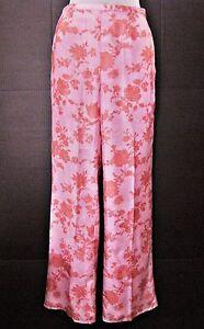 Us Femme Label Sz Armani Nwot Large Rose Floral Jambe Noir 38 Soie Pantalon 2 Giorgio En B7W67