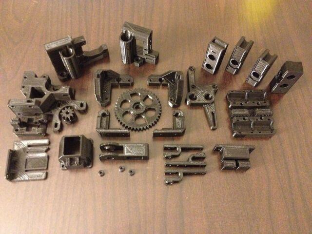 RepRap Prusa i3 Rework Printed Parts Kit - HIGH QUALITY GLOSSY BLACK PLA