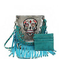 Sugar Skull W/fringe Accented Crossbody Messenger-bag