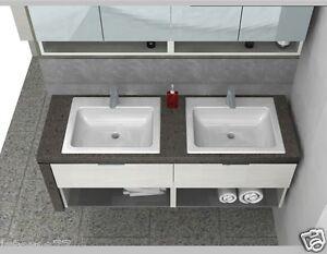 Mobile da bagno b201 77 con piano sospeso doppio lavandino top pietra ebay - Piano lavandino bagno ...