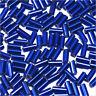 perline rocaille Tubi in vetro Foro argentato 4x2mm Blu 20g