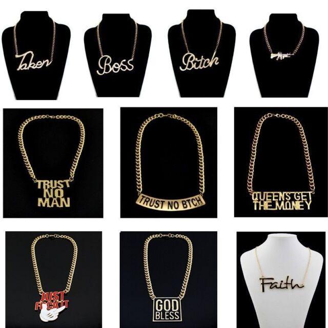 Fashion Gold Tone Jewelry Stuff Chain Choker Necklace Words Pendant EZD