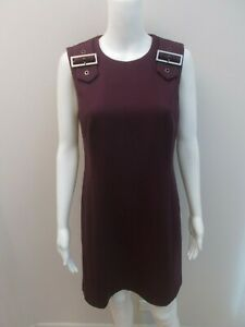 CUE-EXPOSED-ZIP-BUCKLE-DETAIL-SHOULDER-PLUM-DRESS-SIZE-10-AS-NEW-O291