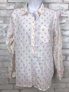 NWT Gap Womens Popover Cotton Shirt White Orange Cactus Print Long Sleeve M