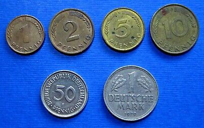GERMANY EAST GERMAN SET 1+5+10+20+50 Pfennig 1+2 Mark UNC 200OTHER/_COIN/_SET/_HERE