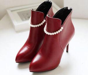 Femmes Bottes Cuir Rouge Chaussures Perles Pour Comme 9 Talons Aiguilles 9411 BanpT