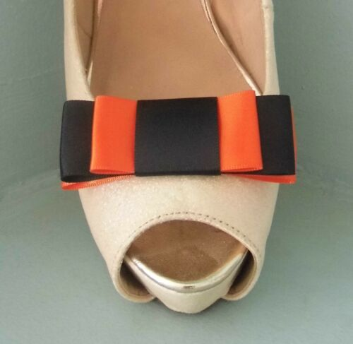 other colours on request 2 Black /& Orange Triple Bow Clips for Shoes