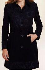 M&S Per Una Black SZ 12 Pure Cotton Rose Print Coat with Belt, BNWT, Was £99