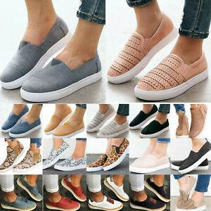 Women-Slip-On-Casual-Flat-Shoes-Ladies-Loafers-Pumps-Trainers-Sneakers-Plimsolls