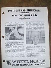 "Wheel Horse Parts List & Instructions  56"" Dozer Blade Manual  6-1142 D-Series"