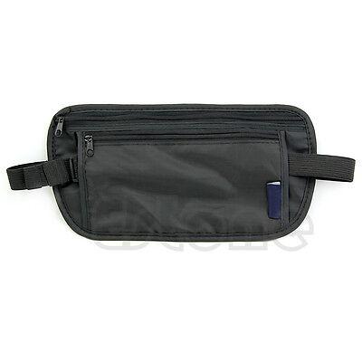 Unisex Zipped Money Bum Pouch Travel Security Passport Waist Belt Bag