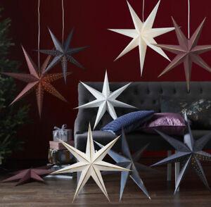Papierstern-60-cm-Weihnachtsstern-12er-LED-Stern-Lichterkette-fuer-Faltstern