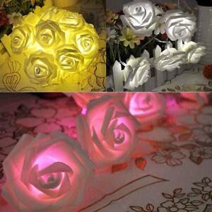 Party-Xmas-20-Battery-Operated-Rose-Flower-LED-Flowers-Fairy-String-Lights-TR