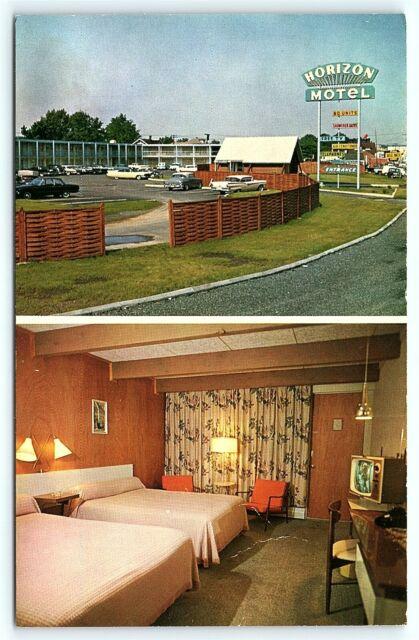 Motel Room Interiors: Postcard NJ Hackensack Horizon Motel 1950's Cars Room