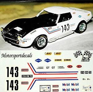 Diplomatique Chevrolet Corvette Greder Racing #143 Tdf1969 1:43 Décalque Décalcomanie-afficher Le Titre D'origine