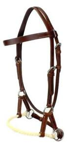 D-A-Brand-Dark-Brown-Leather-Browband-Rope-Nose-Bitless-Bridle-Horse-Tack