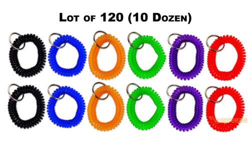 (Lot of 120) Spiral Wrist Coil Keychain with Split Key Ring Elastic 6 Colors New