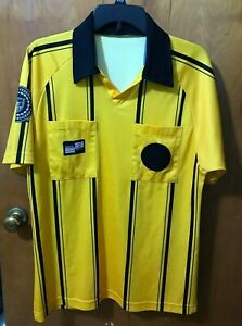 Details about Official sports USSF soccer referee jersey Gold short sleeve old style - S