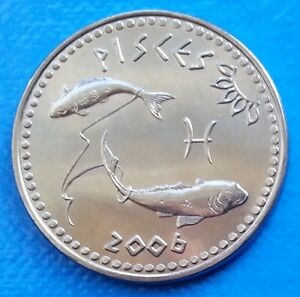 Somaliland-Pisces-10-shillings-2006-UNC-Zodiac-Astrology-Fish-unusual-coinage